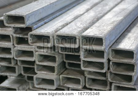 Soft focused picture of Division steel square pipe Galvanizing in Factory