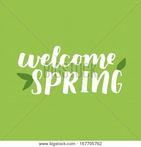 Vector Seasonal Greeting Card Of Hand-written Spring Brush Lettering. Spring Collection White Ink An