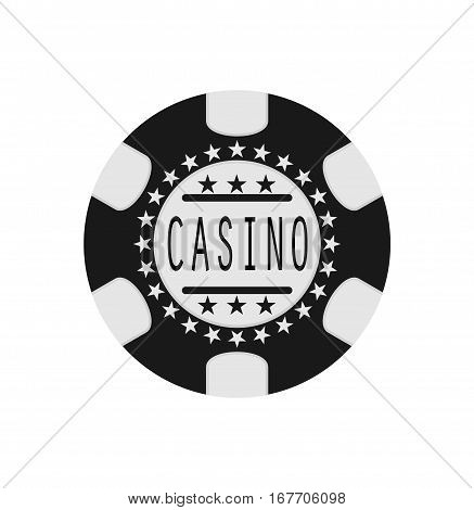 Black isolated gambling chip poker casino text vector stock