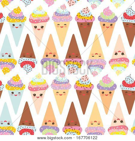 seamless pattern Kawaii funny Ice cream waffle cone muzzle with pink cheeks and winking eyes pastel colors on white background. Vector illustration