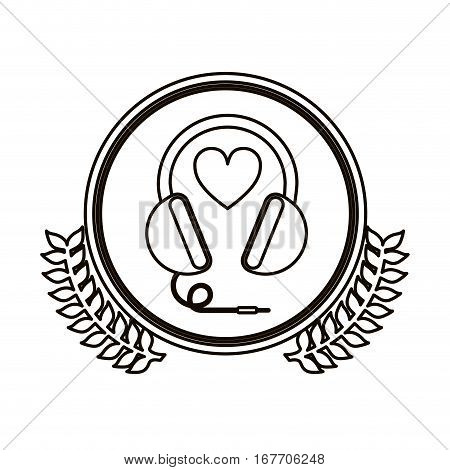 black contour circle with decorative olive branch and stereo headset vector illustration