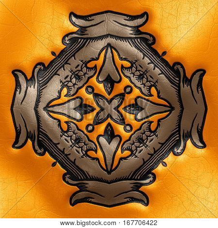3D Rendering Of Plastic Background Tile With Vintage Ornament