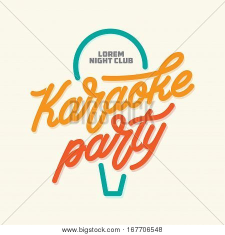 Karaoke party lettering advertising. Hand crafted calligraphy for karaoke club. Typography vector vintage illustration.