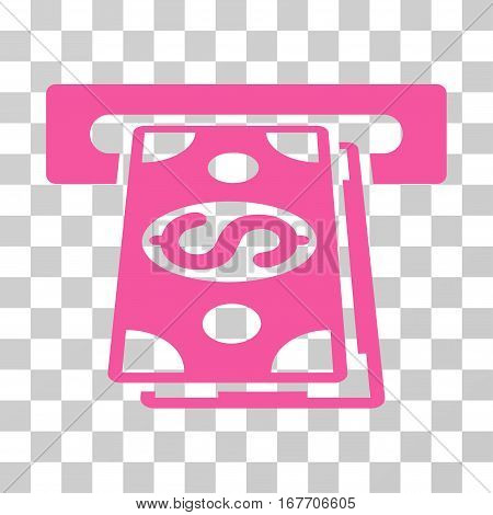 Cash Withdraw icon. Vector illustration style is flat iconic symbol pink color transparent background. Designed for web and software interfaces.