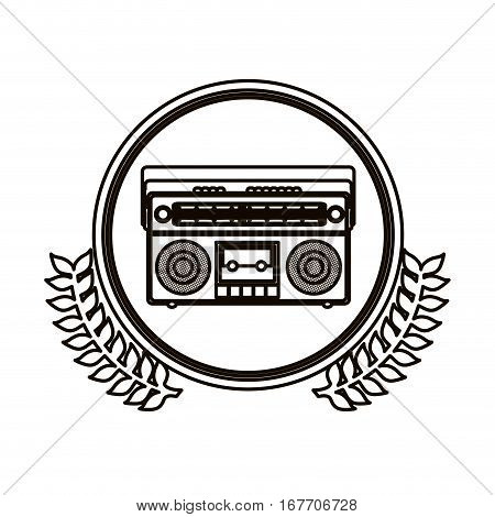 black contour circle with decorative olive branch and radio stereo vector illustration