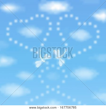 Valentine's day background with two hearts drawn by dragonflies in a blue sky with clouds
