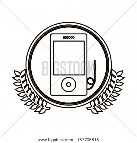 black contour circle with decorative olive branch and portable music device vector illustration