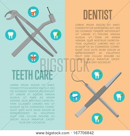 Teeth care and dentist vertical flyers with instruments crosswise on color background with round teeth icons. Dentistry isolated vector illustration. Healthcare and tooth care concept. Dental hygiene