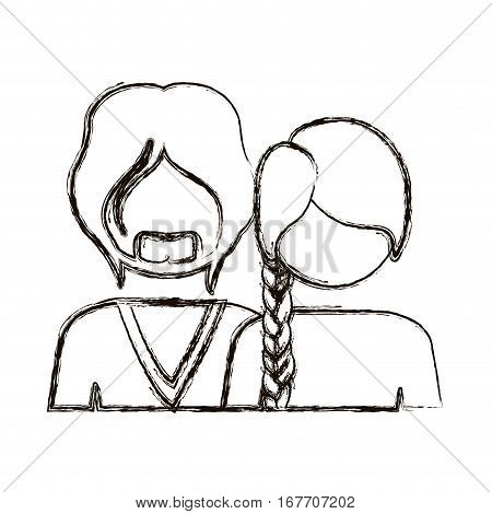 blurred silhouette with half body couple without face she long hair and him with beard vector illustration