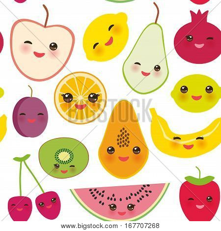 seamless pattern strawberry orange banana cherry lime lemon kiwi plums apples watermelon pomegranate papaya pear pear on white background. Vector illustration