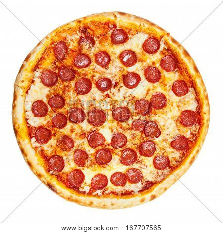 Delicious classic italian Pizza Pepperoni with sausages and cheese mozzarella isolated on white background