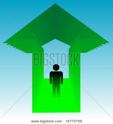 Going Up? Man on stairs in up-arrow, which could also be a house, elevator, or chapel, expressing progress, upgrading, improvement, etc.