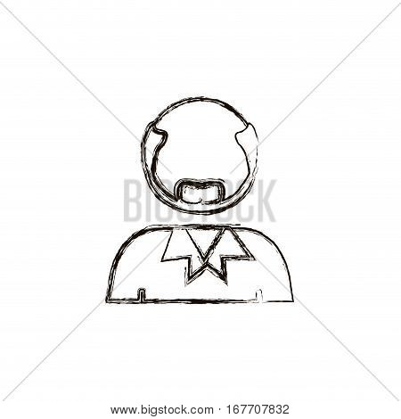 blurred half body bald man with beard without face vector illustration