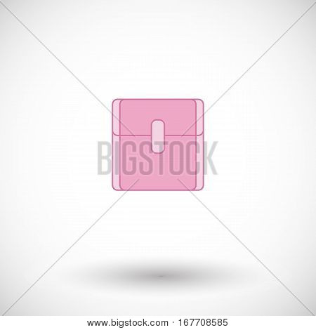 Sanitary napkin icon. Flat design of feminine hygiene product with round shadow. Vector illustration