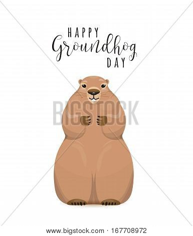 Vector illustration of happy groundhog day design with cute groundhog in the hole and greeting text sign