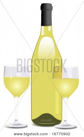 Attractive Rhone shaped bottle of wine, and two glasses.