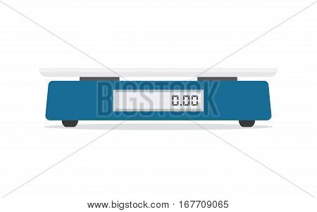 Electronic scales for products. Kitchen scales isolated on a white background vector illustration