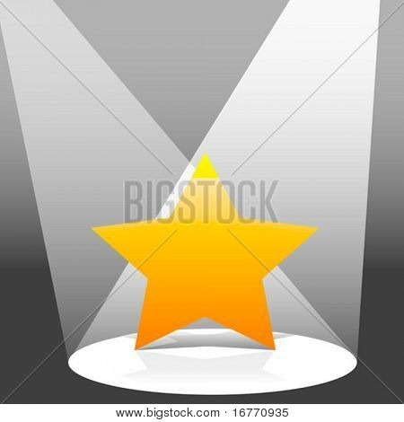 An illustration of a yellow star shines on a stage in two spotlights.