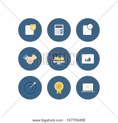 Strong Finance Business Vector Flat Icon Set