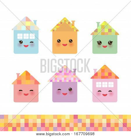 Funny happy house set kawaii face smile pink cheeks big eyes. pastel colors. Vector illustration