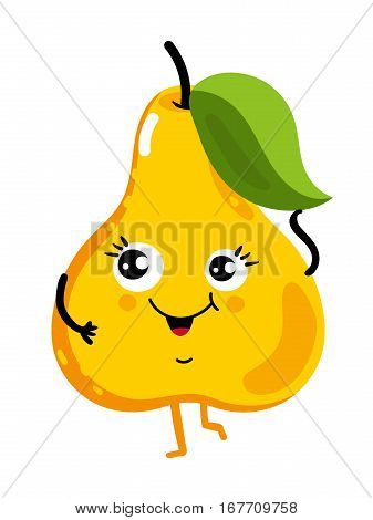 Cute fruit pear cartoon character isolated on white background vector illustration. Funny positive and friendly pear emoticon face icon. Happy smile cartoon face food emoji, comical fruit mascot