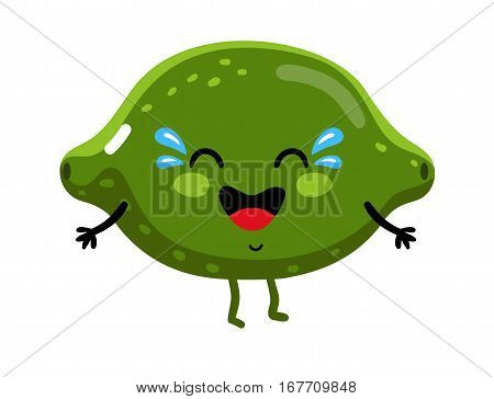 Cute fruit lime cartoon character isolated on white background vector illustration. Funny positive and friendly lime emoticon face icon. Happy smile cartoon face food emoji, comical fruit mascot