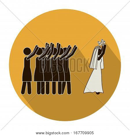 circular shape pictogram of wife throwing a bouquet vector illustration