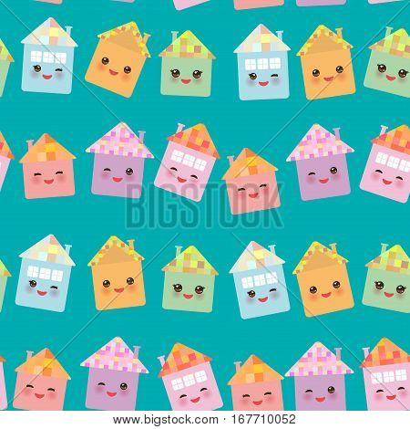 Funny happy house set kawaii face smile pink cheeks big eyes. seamless pattern pastel colors on blue background. Vector illustration