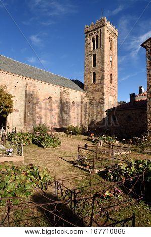 Romanesque Church of Santa Maria CoustougesPyrenees mountains Languedoc-Rosellón France