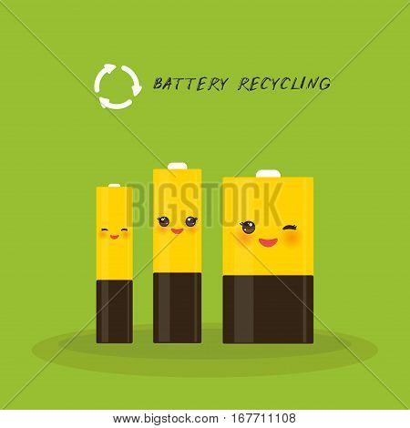 Battery Recycling, Set Of Three Batteries Smiling And Winking Eye. Vector