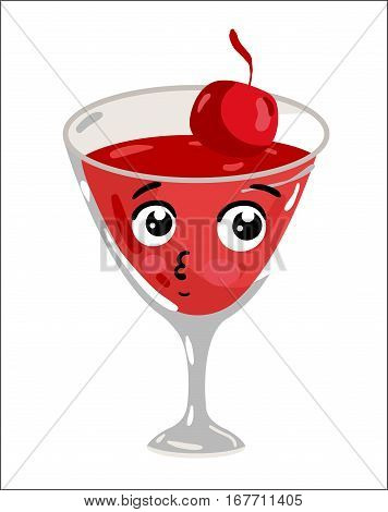 Cute cocktail with cherry cartoon character isolated on white background vector illustration. Funny alcohol drink in glass emoticon face icon. Happy smile cartoon face, comical cocktail drink mascot