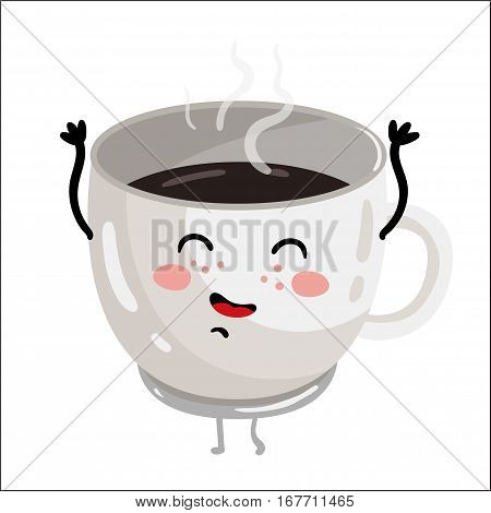 Cute cup of coffee cartoon character isolated on white background vector illustration. Funny positive and friendly hot drink emoticon face icon. Happy smile cartoon face, comical coffee cup mascot