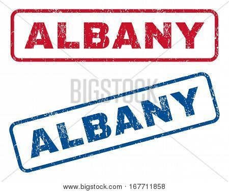 Albany text rubber seal stamp watermarks. Vector style is blue and red ink caption inside rounded rectangular banner. Grunge design and dirty texture. Blue and red stickers.
