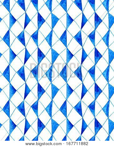 Watercolor seamless rustic pattern with bright blue rhombuses on white background. Abstract repeating texture composed of azure geometrical elements.