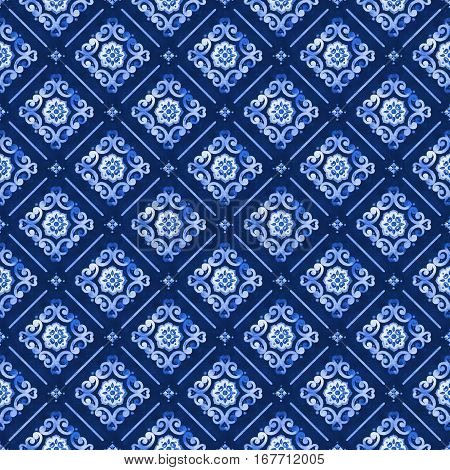 Watercolor abstract royal blue seamless pattern moroccan tiling ornament. Delicate filigree openwork lace pattern. Blue velvet revival tracery design