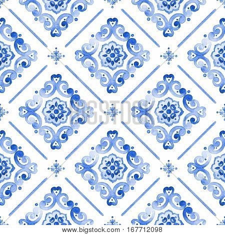 Watercolor royal blue filigree seamless pattern indigo renaissance tiling ornament. Delicate sapphirine openwork lace pattern. Cobalt blue revival tracery design. Moroccan navy blue background.