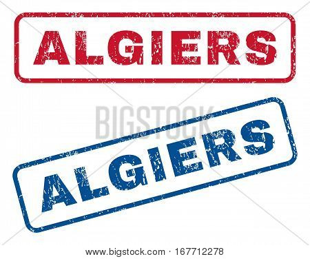 Algiers text rubber seal stamp watermarks. Vector style is blue and red ink tag inside rounded rectangular shape. Grunge design and dust texture. Blue and red emblems.