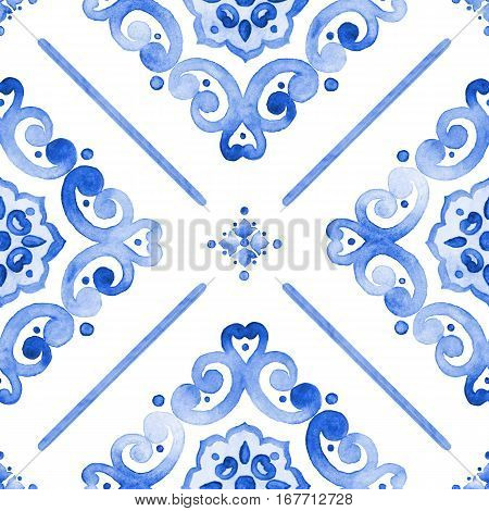 Watercolor moroccan blue seamless pattern indigo renaissance tiling ornament. Royal blue abstract filigree background. Delicate openwork lace pattern. Cobalt blue revival tracery design