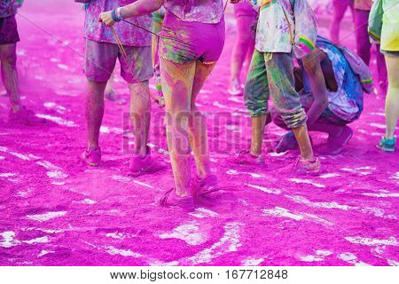 Colorful Legs At Public Color Run Event In Hanoi Capital City. Hundreds Of People Joined The Joyful