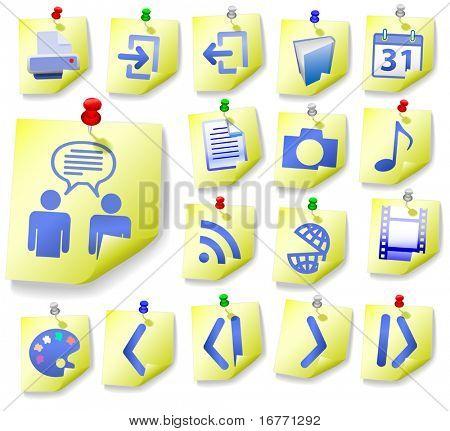 Bloc de notas Notas amarillo y azul de los iconos, con cáscaras de la esquina, en esta Web Icon Set.