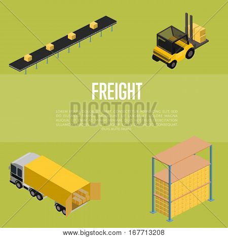 Freight storage isometric vector illustration. Forklift truck with packing boxes, warehouse terminal, truck loading process icons. Freight transportation, cargo shipment, distribution warehouse