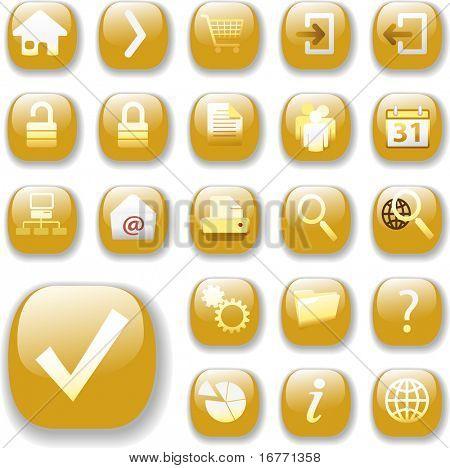Set of shiny gold Control Button Icons, internet web page navigation symbols.