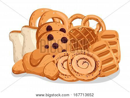 Bakery pastry isolated on white background cartoon vector illustration. Croissant, puff, pie, bagel, toast bread, cookie icon. Bakery product design, fresh pastry food logo, sweet dessert element.