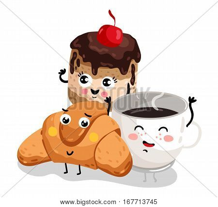 Cute croissant, cake and coffee cup cartoon character isolated on white background vector illustration. Funny hot drink and bakery pastry emoticon face icon. Happy cartoon face food, comical breakfast