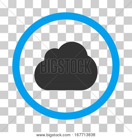 Cloud rounded icon. Vector illustration style is flat iconic bicolor symbol inside a circle blue and gray colors transparent background. Designed for web and software interfaces.