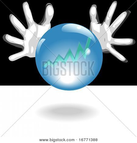 Business Forecaster hands around a shiny, crystal ball with blue glow, predict a bright future of profit in a chart - graph.