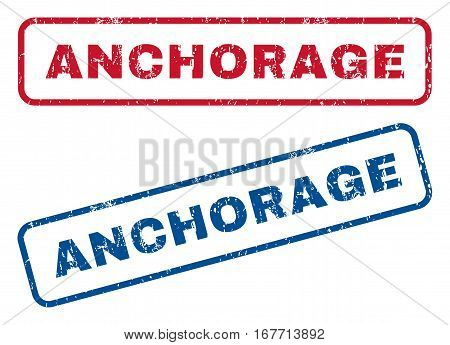 Anchorage text rubber seal stamp watermarks. Vector style is blue and red ink tag inside rounded rectangular banner. Grunge design and unclean texture. Blue and red signs.