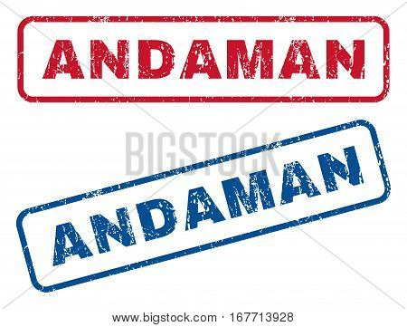 Andaman text rubber seal stamp watermarks. Vector style is blue and red ink tag inside rounded rectangular banner. Grunge design and scratched texture. Blue and red signs.