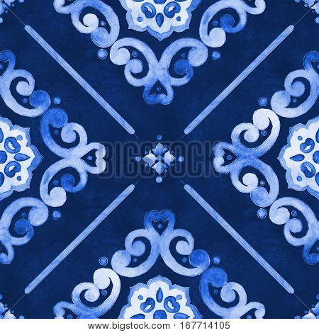 Watercolor abstract royal blue velour seamless pattern moroccan tiling ornament. Delicate filigree openwork lace pattern. Blue velvet revival tracery design. Denim texture background.