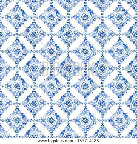 Watercolor royal blue filigree seamless pattern indigo renaissance tiling ornament. Delicate sapphirine openwork lace pattern. Cobalt blue revival tracery design. Moroccan navy blue background.